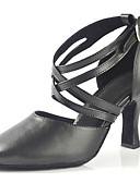 baratos Presentes de Casamento-Mulheres Sapatos de Dança Latina Couro Sintético Sandália Cruzado Salto Agulha Personalizável Sapatos de Dança Preto / Espetáculo