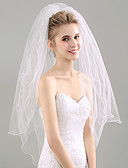 cheap Wedding Veils-Two-tier Pencil Edge Wedding Veil Blusher Veils Fingertip Veils 53 Ruched Tulle