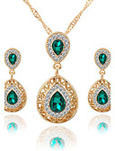 cheap Women's Scarves-Women's Crystal Jewelry Set - Crystal, Rhinestone Drop Luxury, Dangling Style, Fashion Include Necklace / Earrings Bridal Jewelry Sets Red / Green / Blue For Wedding Party Special Occasion