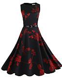 ieftine Print Dresses-Pentru femei Ieșire Șic Stradă Bumbac Mâneci Bufante Teacă Rochie - Imprimeu, Floral Lungime Genunchi