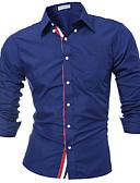 baratos Camisas Masculinas-Homens Camisa Social Moda de Rua Sólido Algodão / Manga Longa
