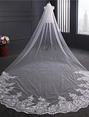 זול הינומות חתונה-שכבה אחת אפליקצית קצה תחרה הינומות חתונה צעיפי קפלה עם נצנצים אפליקציות ריקמה עניבת פרפר טול