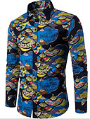 זול חולצות לגברים-גיאומטרי כותנה, חולצה - בגדי ריקוד גברים דפוס / שרוול ארוך