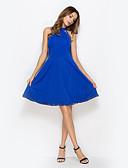baratos Vestidos de Mulher-Mulheres Bandagem Para Noite Feriado Moda de Rua Bainha Vestido Sólido Colarinho Chinês Cintura Alta Altura dos Joelhos