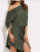 cheap Men's Shirts-Women's Going out / Work Cotton A Line / Bodycon / Sheath Dress - Solid Colored Backless / Cut Out Off Shoulder
