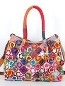 cheap Fashion Hats-Women's Bags Cowhide Shoulder Bag Petal / Floral / Split Joint Rainbow / Black / White