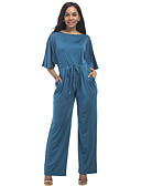 cheap Women's Jumpsuits & Rompers-Women's Plus Size Batwing Sleeve Jumpsuit - Solid Colored High Rise Wide Leg