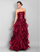 cheap Evening Dresses-A-Line Sweetheart Neckline Floor Length Organza Prom / Formal Evening Dress with Cascading Ruffles / Ruched by TS Couture®