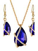 baratos Quartz-Mulheres Cristal Conjunto de jóias - Cristal, Strass Caído Luxo, Pingente, Boêmio Incluir Colar / Brincos / Sets nupcial Jóias Preto / Azul Escuro / Vermelho Para Presentes de Natal / Casamento