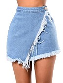 cheap Women's Skirts-Women's Street chic Plus Size A Line Skirts - Solid Colored Tassel