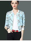 cheap Women's Blazers-Women's Going out Jacket Print Shirt Collar