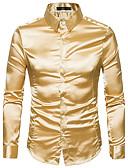 cheap Men's Jackets & Coats-Men's Slim Shirt - Solid Colored Basic Spread Collar / Long Sleeve