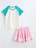 preiswerte Mode für Mädchen-Mädchen Einfarbig Kurzarm Kleidungs Set