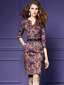 cheap Women's Dresses-Women's Plus Size Going out Sheath Dress Print V Neck / Slim