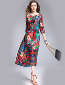 cheap Women's Dresses-Women's Going out Silk Dress - Floral Print / Loose