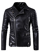 cheap Men's Jackets & Coats-Men's Daily / Club Street chic Fall / Winter Regular Leather Jacket, Solid Colored Notch Lapel Long Sleeve PU Black XXXL / 4XL / XXXXXL