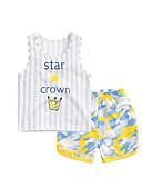 baratos Conjuntos para Bebês-bebê Crianças Conjunto Casual Riscas Verão Algodão Verde Cinzento Amarelo