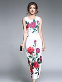 baratos Vestidos Femininos-Mulheres Para Noite Vintage / Moda de Rua / Sofisticado Tubinho Vestido Floral Médio / Padrões florais