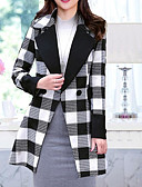 cheap Women's Down & Parkas-Women's Daily / Going out / Work Winter Regular Coat, Plaid Stand Long Sleeve Cashmere / Wool White / Orange / Red L / XL / XXL