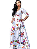 cheap Women's Dresses-Women's Beach Boho Sheath / Swing Dress - Floral White High Rise Maxi V Neck