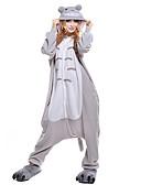 abordables Sudaderas de Hombre-Adulto Pijamas Kigurumi Gato Totoro Pijamas de una pieza Vellón de Coral Gris Cosplay por Hombre y mujer Ropa de Noche de los Animales Dibujos animados Festival / Celebración Disfraces