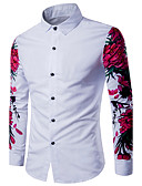 cheap Men's Shirts-Men's Casual Cotton Slim Shirt - Solid Colored Print Classic Collar / Long Sleeve