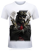 cheap Men's Tees & Tank Tops-Men's Sports Active Plus Size Cotton Slim T-shirt - Skull Print Round Neck / Short Sleeve