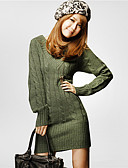 cheap Women's Sweaters-Women's Daily / Going out Solid Colored Long Sleeve Regular Pullover, V Neck Fall / Winter Cotton Beige / Army Green One-Size