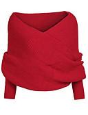 baratos Suéteres de Mulher-Mulheres Diário Sólido Manga Longa Padrão Pulôver, Decote Canoa Outono / Inverno Algodão Vermelho / Bege / Cinzento Tamanho Único
