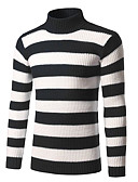 cheap Men's Tees & Tank Tops-Men's Weekend Street chic Long Sleeve Slim Pullover - Striped Turtleneck