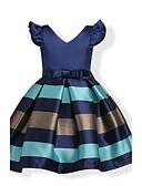 cheap Girls' Dresses-Kids / Toddler Girls' Bow / Stripes Holiday Solid Colored / Striped Short Sleeve Dress / Cotton