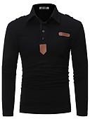 olcso Férfi pólók-Aktív Állógallér Vékony Férfi Polo - Egyszínű / Hosszú ujj