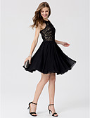 cheap Prom Dresses-A-Line Princess Jewel Neck Knee Length Chiffon Lace Cocktail Party / Prom Dress with Crystal Detailing by TS Couture®