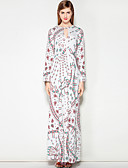 cheap Women's Dresses-Women's Going out / Work Street chic A Line Dress - Floral Maxi