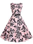 זול שמלות נשים-מעל הברך פרחוני - שמלה נדן וינטאג' / סגנון רחוב ליציאה בגדי ריקוד נשים