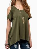 baratos Camisetas Femininas-Mulheres Camiseta - Para Noite Sólido Algodão Decote V Verde Tropa XXXL / Com Corte