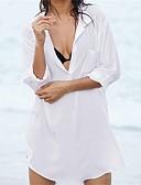 tanie Bikini i odzież kąpielowa-Damskie Biały Czarny Cover Up Stroje kąpielowe - Solidne kolory Biały Jeden rozmiar / Kołnierzyk koszuli