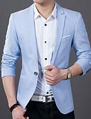 billiga Herrblazers och kostymer-Herr Dagligen / Arbete Vår / Sommar Plusstorlekar Normal Blazer, Enfärgad Hakslag Långärmad Bomull Ren färg Svart / Ljusblå XL / XXL / XXXL / Smal
