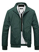 cheap Men's Jackets & Coats-Men's Jacket - Solid Colored Stand