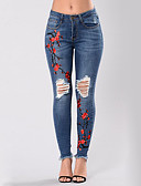 cheap Women's Pants-Women's Street chic Skinny Jeans Pants - Floral / Embroidered Cut Out / Ripped / Denim High Rise / Summer / Fall / Plus Size / Embroidery