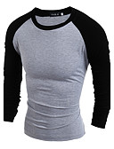 cheap Men's Tees & Tank Tops-Men's Daily Casual Summer T-shirt,Solid Round Neck Long Sleeves Cotton