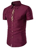cheap Men's Ties & Bow Ties-Men's Cotton Shirt - Solid Colored Embroidery