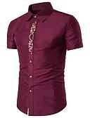 رخيصةأون تيشيرتات وتانك توب رجالي-رجالي قطن قميص لون سادة / تطريز / كم قصير