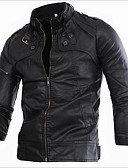 cheap Men's Jackets & Coats-Men's Vintage Slim Leather Jacket - Solid Colored / Striped, Print Stand / Long Sleeve