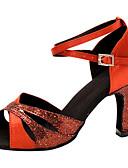 preiswerte Herren Pullover-Damen Schuhe für den lateinamerikanischen Tanz Seide Sandalen Überkreuzte Rüschen Stöckelabsatz Maßfertigung Tanzschuhe Rot / Leistung / Leder