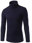 cheap Men's Sweaters & Cardigans-Men's Daily / Going out / Weekend Street chic Solid Colored Long Sleeve Slim Regular Pullover, Turtleneck Fall / Winter Red / Navy Blue / Gray XL / XXL / XXXL
