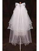 preiswerte Unterröcke für Hochzeitskleider-Zweischichtig Gebündelter Rand Hochzeitsschleier Ellbogenlange Schleier mit Rüschen Tüll / Klassisch