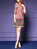 baratos Vestidos de Mulher-Mulheres Bandagem Para Noite Feriado Sofisticado Evasê Vestido - Estampado Cintura Alta Altura dos Joelhos