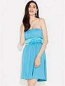 זול שמלות נשים-סטרפלס מיני אחיד - שמלה גזרת A כותנה חוף חגים בגדי ריקוד נשים