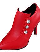 billige Damestøvler-Dame Sko PU Høst Trendy støvler / Ankelstøvel Støvler Stiletthæl Ankelstøvler Imitasjonsperle Svart / Beige / Rød